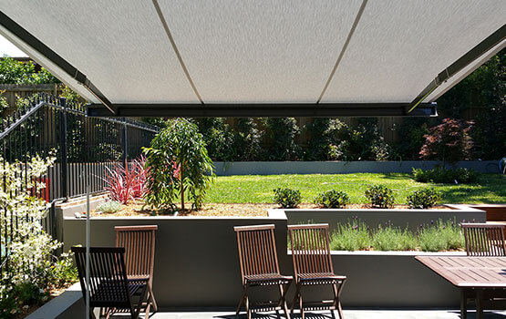 Awnings over a canberra backyard